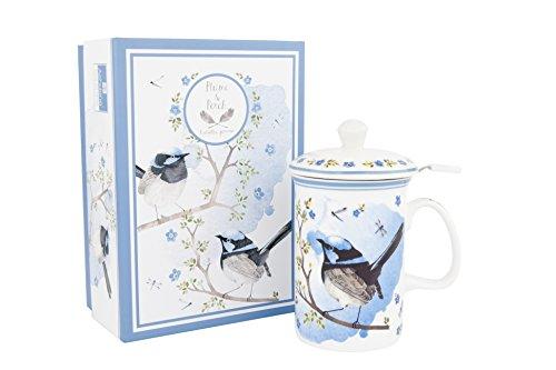 Ashdene Plume & Perch Blue Wren Three-Piece Fine Bone China