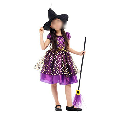 Halloween Costume Witch Dress Hat Fantasia Infantil Carnival Party Child Cchristmas,G-0296,XL]()