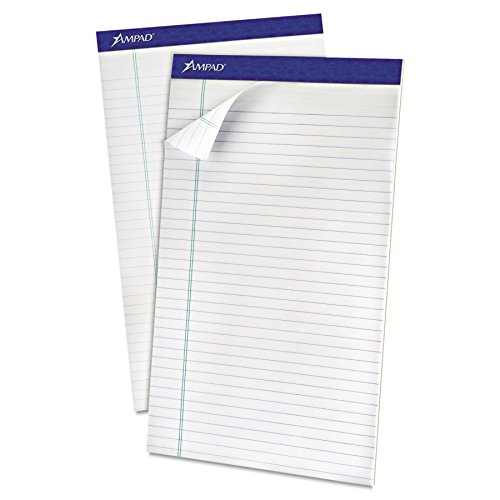 Ampad 20-180 Evidence Recycled 8-1/2x14 Legal Rule Pads, Margin, White, 50 Sheets, Dozen