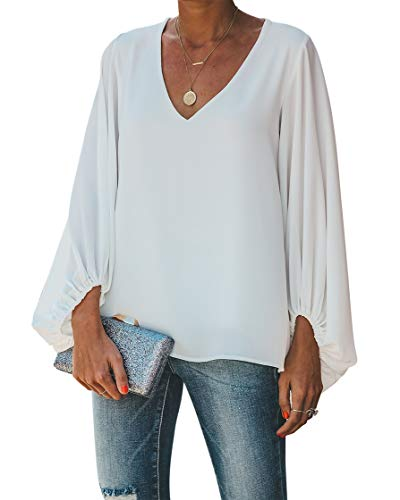 BELONGSCI Women's Casual Sweet & Cute Loose Shirt Balloon Sleeve V-Neck Blouse Top White