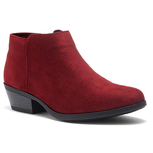 Herstyle Chatter Women's Western Ankle Bootie Closed Toe Casual Low Stacked Heel Boots Burgundy 10.0 (Womens Size 10 Low Heel Red Boots)