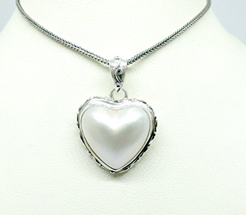 Mabe Pearl Necklace Pendant - handmade 925 sterling silver pendant with heart shape premium white mabe pearl, white mabe pearl pendant, genuine mabe pearl necklace pendant, unique side carving