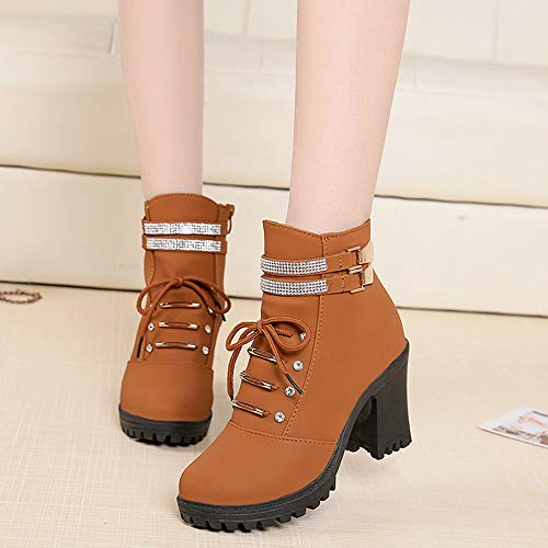 Super Aushöhlen Outdoor High Frauen Martin Braun Junjie Schnalle High Herbst Party Stiefeletten Strass Unterhaltung Heel Winter Stiefel Spitzschuh Quadratische Freizeit fItp7wq