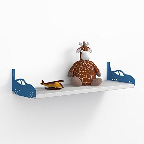 LaModaHome Blue Sport Cars Wall Shelf, 100% Melamine Coated Particle Board - Size (23.6
