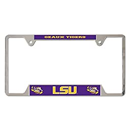 LSU Tigers Official NCAA 12 inch x 6 inch Metal License Plate Frame