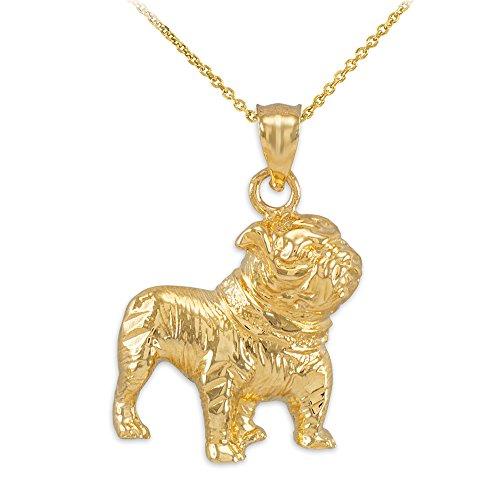 Polished 14k Yellow Gold English Bulldog Charm Pendant Necklace, 18