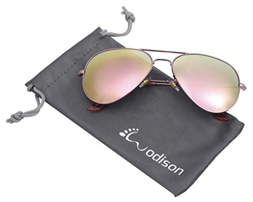 WODISON Mirrored Aviator Sunglasses Vintage Metal Sunglass for Men/Women Rose Gold Frame Pink - Reflective Lenses Sunglasses