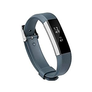 Newest Fitbit Alta HR and Alta Band With Metal Clasp, BeneStellar Silicone Replacement Band for Fitbit Alta HR and Alta (Classic) (Rock Cyan) 1 Pack