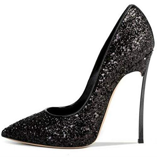 XDLEX Women's Sexy Glitter Sequins Pumps Stiletto Pointed Toe Slip on Bling Bridal Shoes High Heel Low Cut Sparkly Party Dress D'Orsay Wedding Heeded Shoes Black