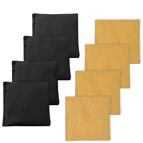 (EXERCISE N PLAY Premium Weather Resistant Official Size ACA Regulation Duck Cloth Cornhole Bags(Set of 8) for Cornhole Bean Bags Toss Game,Yellow & Black,Includes Shoulder Bag)