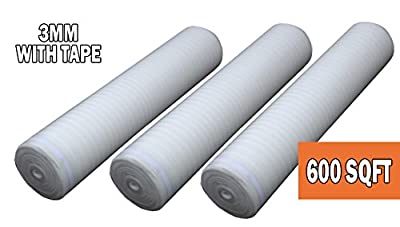 """AMERIQUE 691322303711 Sqft 3-in-1 Heavy Duty Foam 4/32"""" 3mm Thick Flooring Underlayment Padding with Tape 3-in-1, 600 Square', White, Feet"""