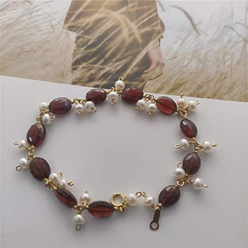 Garnet Bracelet 14K Gold Filled Wiring Freshwater Cultured Pearl Jewelry