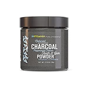 InVitamin Natural Whitening Activated Charcoal Powder for Teeth and Gums (Peppermint)