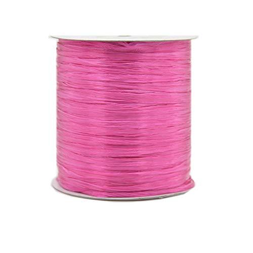 Ribbon Pink Cotton Hat - Hot Pink 273 Yards Cotton Raffia Yarn DIY Raffia Ribbon Yarns for Strawhat/Raffia Ribbon/Straw Ribbon Crochet Knit Hat Bag