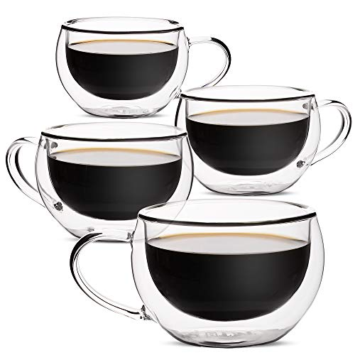 BTäT- Insulated Cappuccino Cups, Glass Tea Cups, Set of 4 (6 oz, 180 ml), Espresso Cups, Double Wall Glass Cups, Tea Mugs, Latte Cups, Tea Glasses, Latte Mug, Small Clear Coffee Cups, Espresso Glass