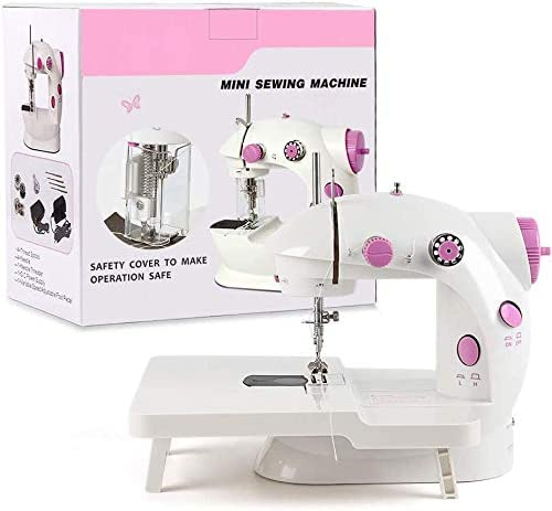 Opinión sobre HAITRAL - Máquina de coser plegable, mini soporte para ampliar el rango de funcionamiento con pedal de doble pedal y cubierta de luz LED para principiantes (rosa)