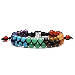 Top Plaza Bead Chakra Bracelet 7 Chakras Healing Crystals Bracelet Yoga Stone Beads Bracelets Meditation Relax Anxiety Bangle for Womens GirlsTop Plaza--Your Best & Reliable Choice of Fine & Fashion Jewelry! Our focus and our r...