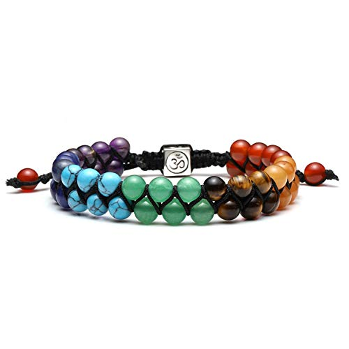 Top Plaza Bead Chakra Bracelet 7 Chakras Healing Crystals Bracelet Yoga Stone Beads Bracelets Meditation Relax Anxiety Bangle for Womens Mens