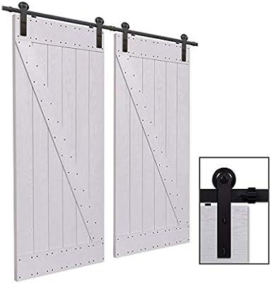 CCJH 8FT-244cm Herraje para Puerta Corredera Kit de Accesorios para Puertas Correderas Rueda Riel Juego para Dos Puertas de Madera: Amazon.es: Bricolaje y herramientas