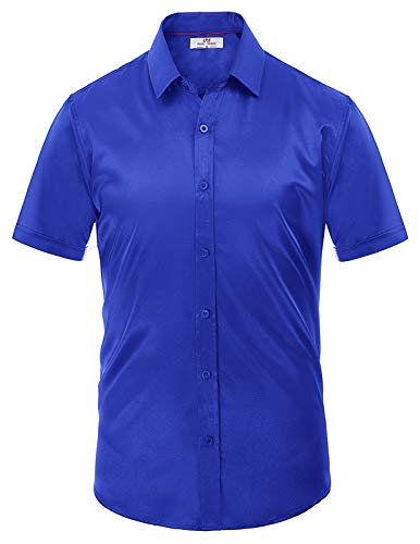PJ PAUL JONES Men's Button Down Dress Shirts Short Sleeve S Blue