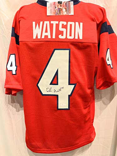 Deshaun Watson Houston Texans Signed Autograph Red Custom Style Jersey JSA Witnessed Certified ()