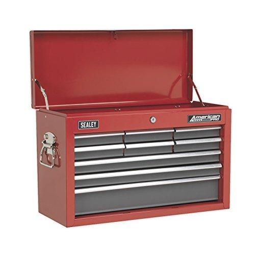 Sealey AP22509BB Werkzeugkoffer mit 9 Schubladen auf Kugelauszugsfü hrungen, rot/grau SEAAP22509BB