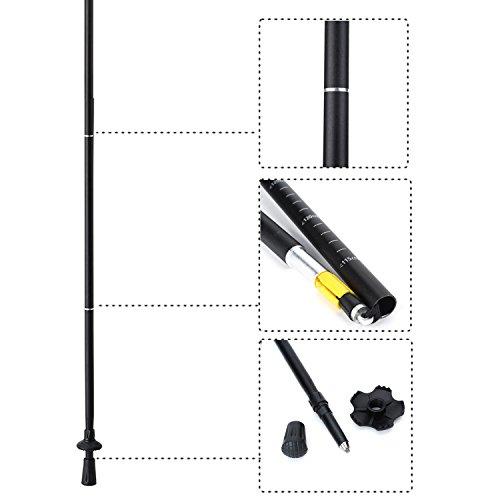 Weanas 1pc Folding Collapsible Trekking Pole Climbing Stick with EVA Foam Handle, Ultralight Adjustable Alpenstocks, for Travel Hiking Climbing Backpacking Walking (Black&Green)