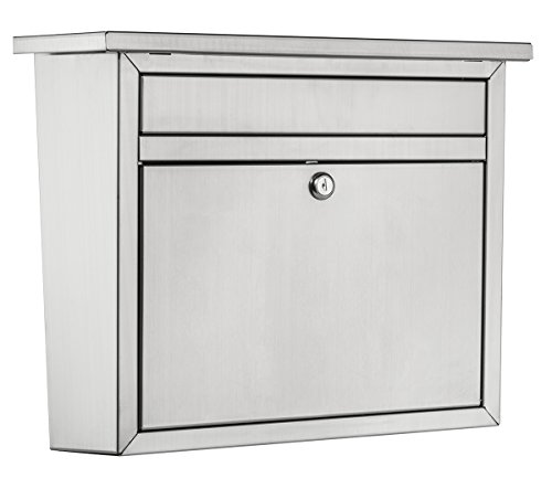 (Architectural Mailboxes 2417PS-10 Maya Locking Wall Mount Mailbox, Large, Stainless Steel)