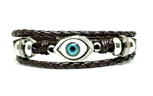 Evil Eye Charm Bracelet   Brown Leather Bracelet