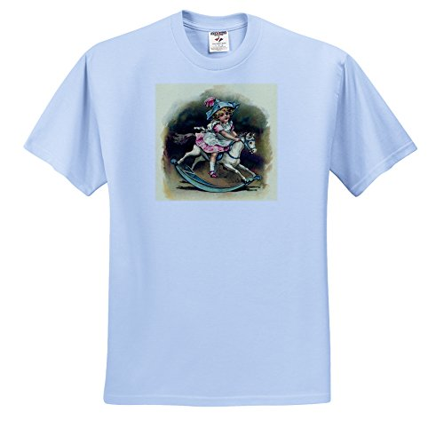 Florene Victorian Images - Sweet Girl On Rocking Horse - T-Shirts - Adult Light-Blue-T-Shirt Medium (ts_34767_51) (Horse Victorian Rocking)