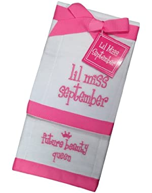 Lil Miss September Future Beauty Queen Baby Burp Bib Cloth Cotton Towel - Set of 2