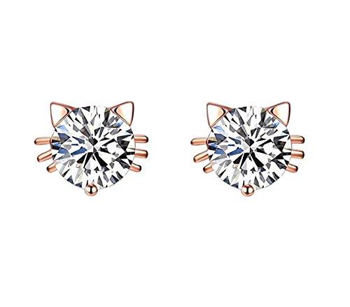 Birthday Gift 18k Gold Plated Austrian Swarovski Crystal Zircon Mini Cute Cat Stud Earrings (18k Cat Earrings)