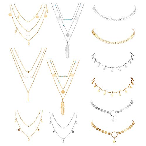 (hefanny 12 Pcs Adjustable Boho Layered Choker Necklace Pendant Moon Star Turquoise Feather Olive Leaf Coin Multilayered Tiered Chain Necklaces for Women Girls Mother Jewelry Set)