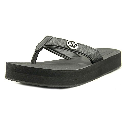Open Sandals Toe Kors Michael (MICHAEL Michael Kors Womens Gage Flip Flop Open Toe Casual, Black, Size 7.0)