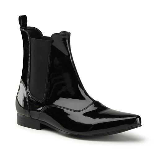 1 Inch Heel MENS BOOTS Western Ankle Boot Black or White Halloween Costume Accessory Size: Medium Colors: Black