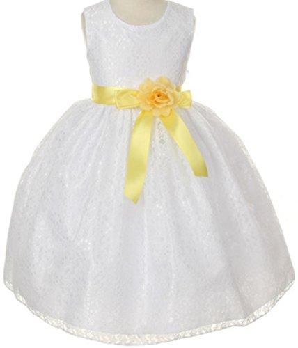 Big Girls' Champagne Dress Lace Custom Ribbon Flowers Girls Dresses Yellow Yellow 8 ()