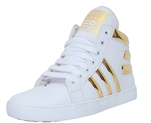 West Code Tiger Men's Synthetic Leather Casual Shoes 6067-G-White