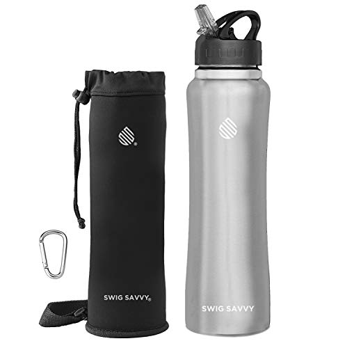 - Swig Savvy Stainless Steel Insulated Leak Proof Flip Top Straw Cap Water Bottles with Pouch & Clip, Steel, 24oz