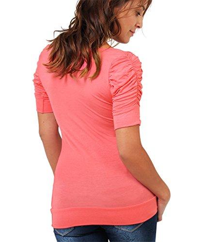KRISP Semplice a Donne Collo Basic Elastico Maglietta Maniche Corte Jersey Coppa Corallo Top Arricciato Pieghe qq4wZgxF