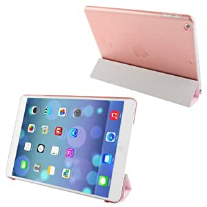 4-folding Silver Hairline Texture Leather Cover Frosted Plastic Case with Holder & Sleep / Wake-up Function for iPad Air (Pink)