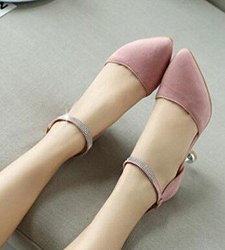 Easemax Womens Sexy Rhinestone Dress Pointed Toe Buckled Stiletto Kitten Heels Ankle Strap Sandals Pink EV4Yn