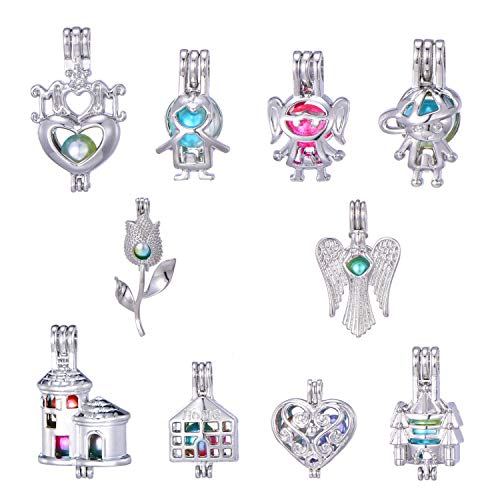 (New Arrival 10 Pcs Rhodium Plated Boys and Girls Cartoon Cute Pearl Cage Beads Cage Locket Pendant Wish Oyster Pearls Charms Valentine's Day MOM Gift (Style 9))