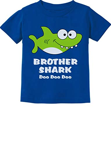 Tstars - Brother Shark Doo Doo Gift for Big Brother Toddler Kids T-Shirt 4T Blue