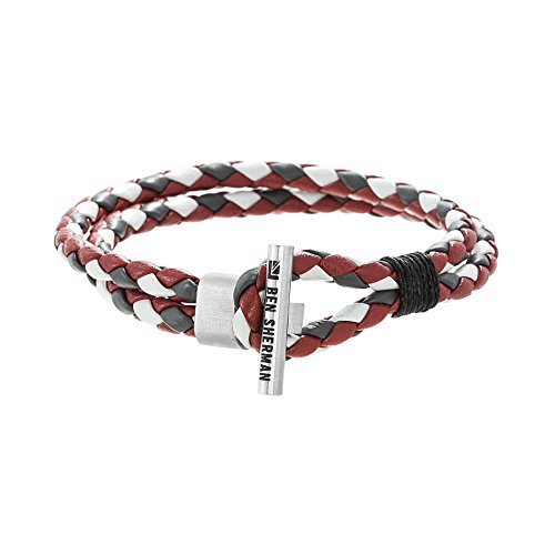 - Ben Sherman Men's Grey, Red, White Faux Leather Braided Double Strand Bracelet with Stainless Steel Toggle Bar Design