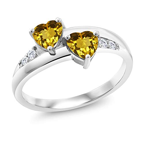 Gem Stone King 1.00 Ct Heart Shape Yellow Citrine 925 Sterling Silver Lab Grown Diamond Ring (Size 7)