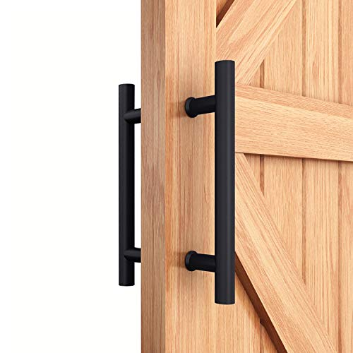 (EaseLife 12 Inch Ladder Pull Handle,Double-Side Bar to Bar H-Shape,Stainless Steel,Sturdy,Fit for Glass Door & Wooden Door,Modern Entry Door Handle Apply for Sliding Barn Door Shower Door Room Door)