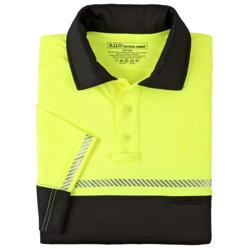 5.11 Tactical #71322 Bike Patrol Polo Short Sleeve Shirt (Reflective Yellow/Black, XX-Large)