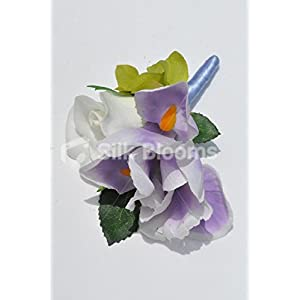 Gorgeous Artificial Purple Iris and Ivory Rose Buttonhole with Hydrangea 2