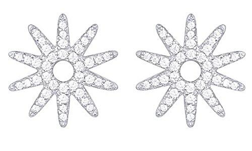 Sun Disc Earring (Sun Stud Earrings White Cubic Zirconia In 14K White Gold Over Sterling Silver)