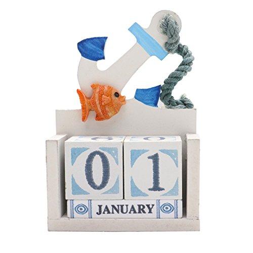 Cheap  Buorsa Perpetual Calendar Blocks Desk Calendar Mediterranean Style Ocean Theme Wooden Cubes..
